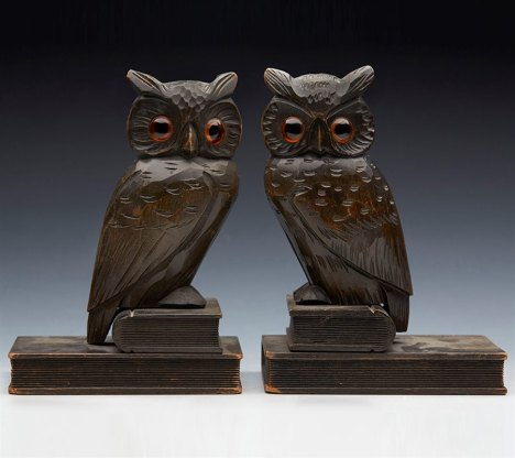 SUPERB_ANTIQUE_PAIR_BLACKFOREST_OWL_BOOKENDS_c1900